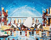 Sydney Operahouse Art -Original Painting Acrylic on Canvas - Wall Art - Home decor - Blue - Mint  - Aqua - Tourquoise