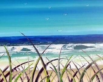 American Beach - Original Painting - Original Art -  Seascape art - unique artwork - home decor - sand - seascape - aqua - blue - art