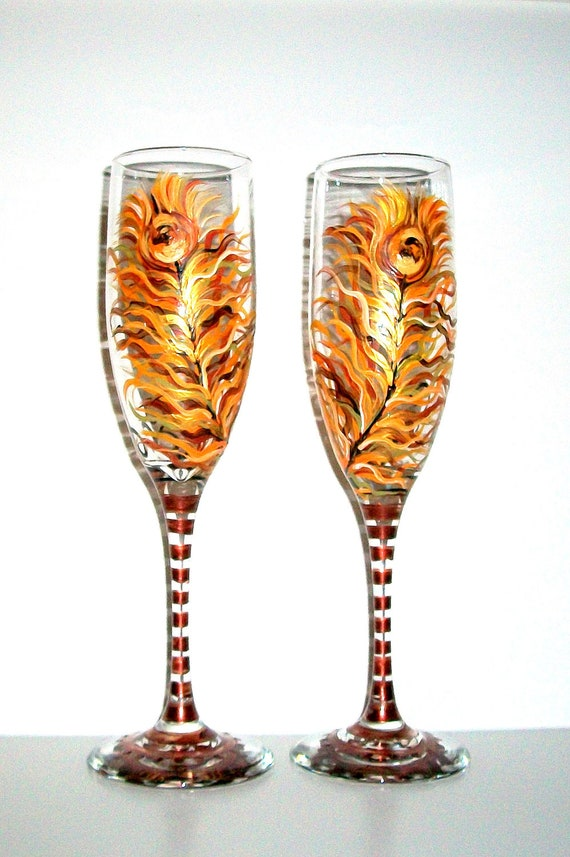 Hand Painted Champagne Flutes Fall Peacock Feathers Hand Painted Set of 2 Fall Wedding, Free Personalization
