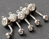 Surgical Stainless Steel with Clear Double Stones add a Charm / add a Dangle Belly Button Rings / Barbells - set of 5