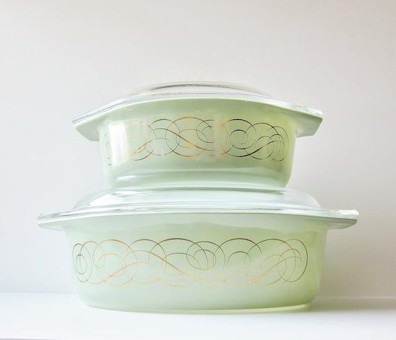Pyrex Promotional Set 1959 Cinderella 943 945 Oval Casserole Golden Scroll Olive Green Mid Century Modern Kitchen