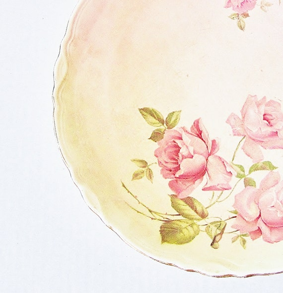 Shabby Chic Roses Vintage Serving Bowl Potter's Cooperative East Liverpool Ohio