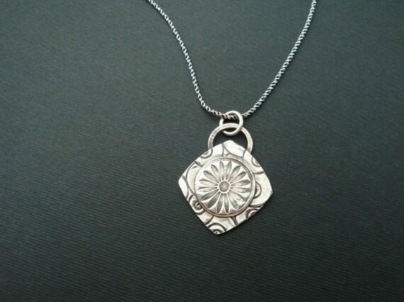 Classy circle in a Square Fine Silver PMC Pendant