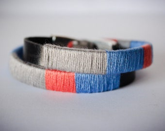 Double Color Block Faux Leather Blue Red Grey and Black Stackable Bracelet