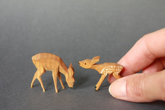 Mid Century Modern Miniature Hand Carved Fawn and Doe Figurines