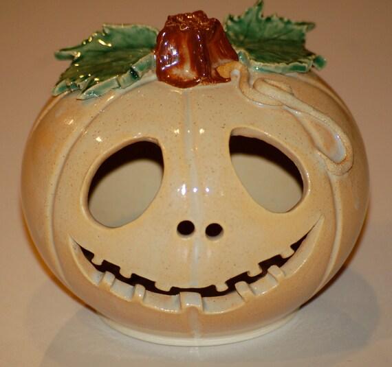Halloween Tea Light - Jack O Lantern - Handmade - Jack Skellington Inspired - Luminary - Pumpkin