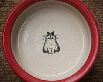 Fat Cat Bowl - Red