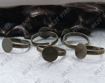 10pcs Antique Brass Adjustable Open Ring Round Pad 10mm ,Ring Fingdings