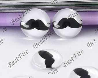 4pcs of the 12mm Round Glass Cabochons mustache, jewelry Cabochons finding beads,Glass Cabochons,moustache or whiskers--01
