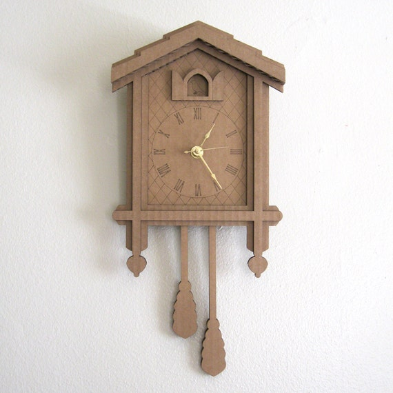 Cardboard Cuckoo Clock - Modern Minimal Laser Cut Wall Decor