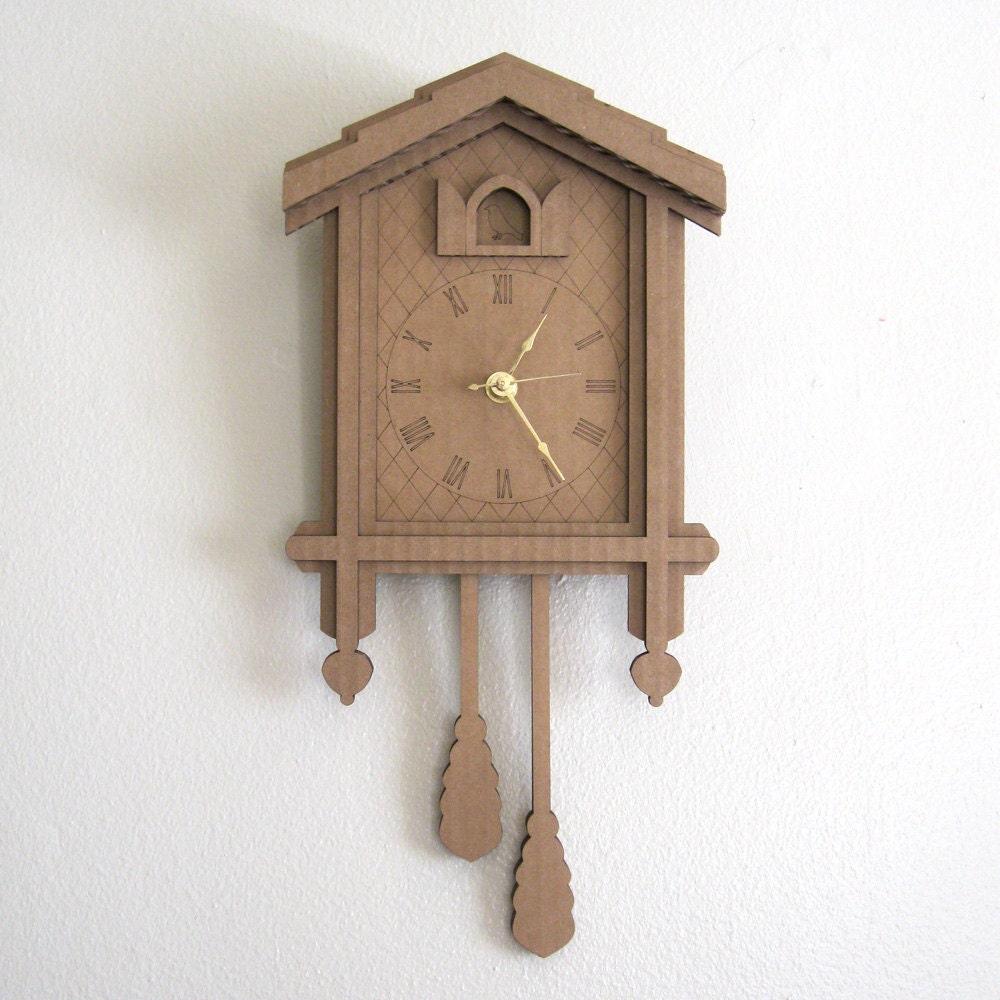 Cardboard Cuckoo Clock Modern Minimal Laser Cut Wall Decor