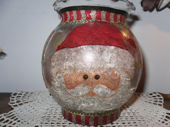 Christmas Candle Holder Glass Santa Claus
