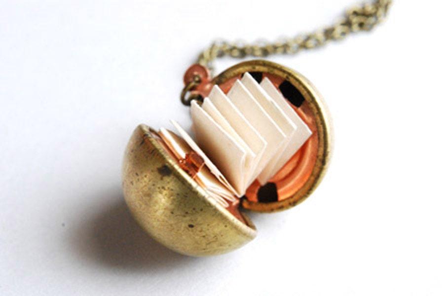 Vintage Brass Ball Locket Necklace Secret Message Necklace