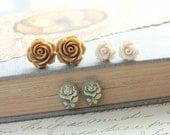 Rose Stud Earrings Caramel Tan Rose Earrings Resin Jewelry Rose Post Earrings Flower Jewelry Ivory Cream Rose Country Chic Jewelry