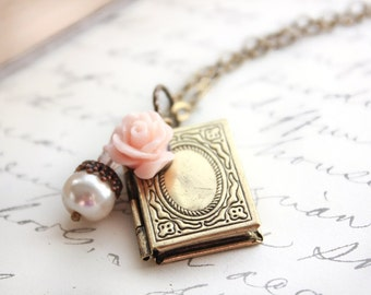 Book Locket Necklace Romantic Locket Pendant Pink Rose White Pearl Acorn Charm Necklace Vintage Style Photo locket Book Lovers Teachers Gift