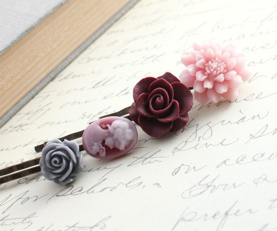 Flower Bobby Pins, Floral Hair Accessories Burgundy Maroon Rose, Grey Rose, Pink Dahlia lady Silhouette Cameo, Hair Clips, Set of Four (4)