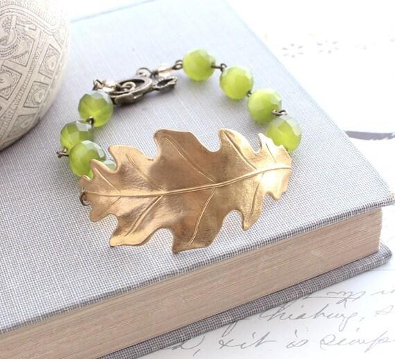 Oak Leaf Bracelet Beaded Cuff Bracelet Oak Leaf Jewelry Gold Leaves Green Natural Gemstones Autumn Woodland Jewellery Christmas