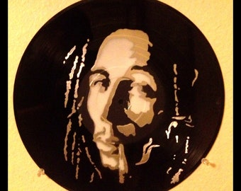 Bob Marley Stencil on Vinyl Record
