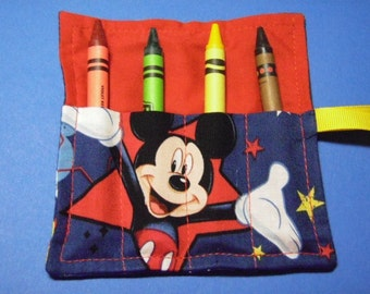 Mini Crayon Keeper 4-Count Roll Up Holder Party Favor - Mickey Mouse Fabric