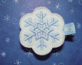 White Snowflake Christmas Felt Hairbow  Clippie - For Infant Toddler Girl