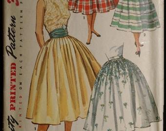 Simplicity 1490 Misses Full Skirt and Cummerbund Vintage 50s Sewing Pattern