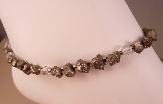 Gemstone Anklet Beaded Anklet Pyrite Ankle Bracelet Fool's Gold Gemstone Jewelry Pyrite Jewelry Beaded Jewelry