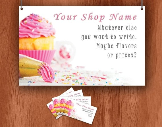 Business set - Cupcake decorating - includes craft show banner, business cards, etsy banner and avatar
