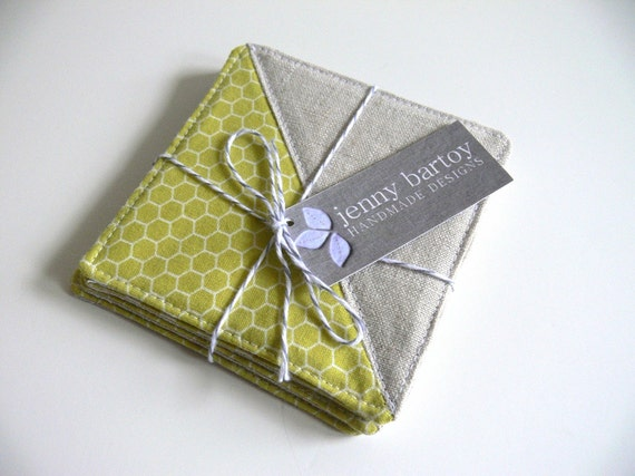 Coasters, Set of 4 - Linen and Honeycomb in Chartreuse - Ready to ship