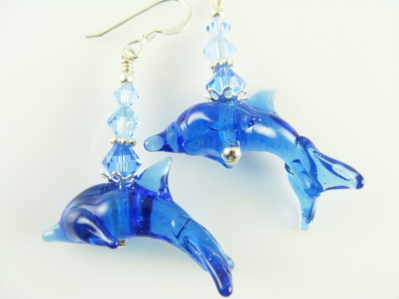 Dolphin Earrings, Glass Bead Earrings, Blue Dangle Earrings, Beaded Earrings, Lampwork Jewelry, Lampwork  Earrings