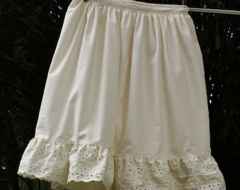 Organic cotton Petticoat-double layered with two tiers of of lace and embroidered detail