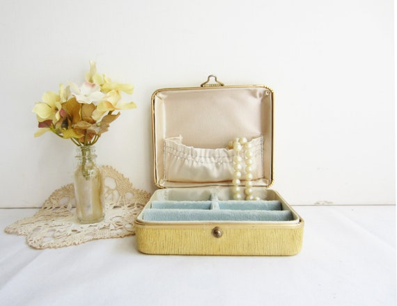 Vintage Small Jewelry Box with Light Blue Velvet - Nice size for travels