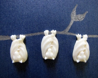 Little Bali Bat Carved Bone Flatbacked Bead 1pc
