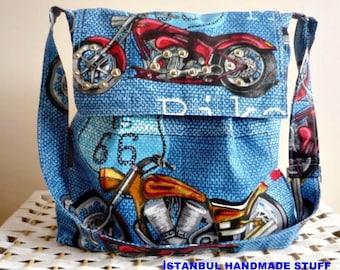 Dark Blue  Messenger bag /Shoulder Bag/Laptop Bag / Diaper Bag / Travel Bag with Motor Bike Flap