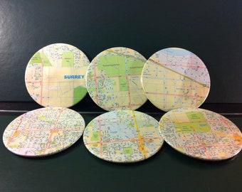 Surrey map coasters - Surrey City Street Map, British Columbia, Canada (Set of 6)