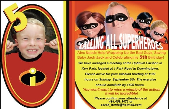 Items Similar To Custom Incredibles Birthday Party