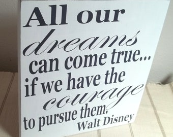 White and Navy Blue Walt Disney Quote Painted Wood Sign