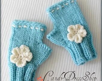 Aqua blue mittens for girls, Girls blue wrist warmers, Flowered aqua mittens, Blue fingerless gloves, Girls hand-knitted blue gloves