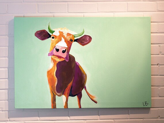 Cow Painting, Mint Purple and Orange Art, Large Acrylic on Canvas ...