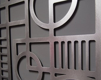 Deco Panel No. 2 23 X 46 in Brushed Aluminum Wall Sculpture
