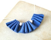 Small statement bib necklace dark blue ruffles frills polymer clay necklace off-white beads adjustable versatile fashion nautical necklace
