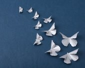 3D Wall Butterflies: Silver Metallic Butterfly Silhouettes for Girls Room, Nursery, and Home Decor