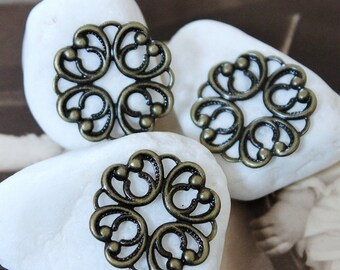 10pcs  Antique Bronze  plated RAW brass Filigree  Jewelry Connectors Setting Cab Base Connector Finding  (FILIG-B-45)