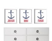 Personalized Twins Beach Brother Sister Boy Girl Triplets Nursery Name Anchor Kids Art Print  Custom more colors available set 3 each 11x14