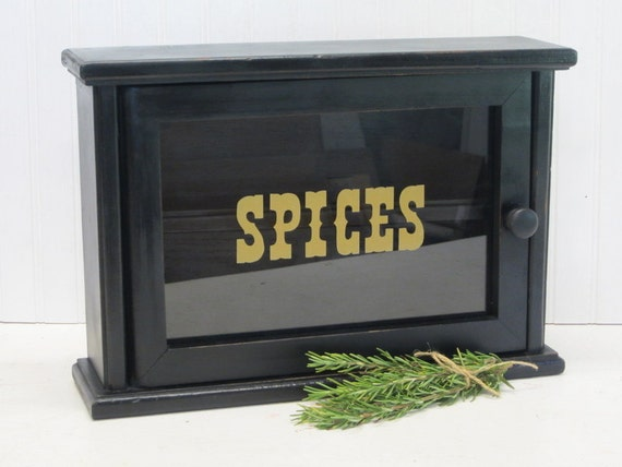 Vintage Wood Spice Rack Cabinet with Glass Front