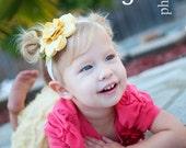 Lily Baby Headband Felt Flower Headband -Butter and Ochre-Headband, or Hair Clip, or Brooch