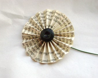"""2"""" accordian fan folded pinwheel vintage book page paper flower with button center poppies"""