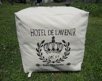 """Pouf - Hassock - Ottoman - """"Hotel De Lavenir,"""" Canvas, Grain Sack 18"""" X 18"""""""