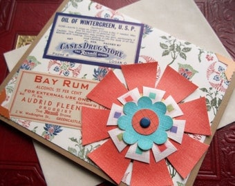Floral Prescription - Vintage Pharmacy/ Apothocary Labels and Flower Greeting/ Note Card