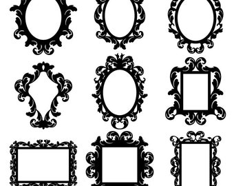 Baroque Frames Clipart Clip Art, Vintage Frames Borders Clipart Clip Art - Commercial and Personal Use