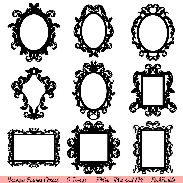 Baroque frames clipart clip art vintage frames borders for Image miroir photoshop